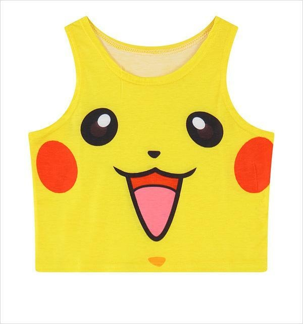 pokemon pikachu crop top cropped shirt belly top tank kawaii anime face pokeball harajuku fashion by kawaii babe