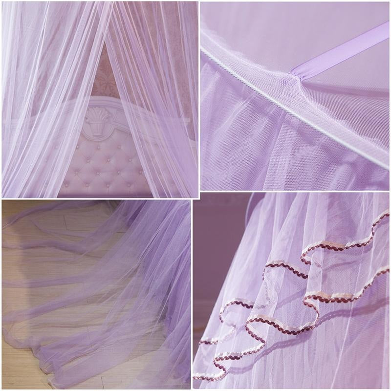 purple princess canopy bed mosquito net bedding netting mesh see through tent ribbons bows ruffled girly abdl cgl dd/lg little space kink fetish by ddlg playground