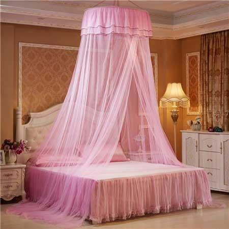 pink princess canopy bed mosquito net bedding netting mesh see through tent ribbons bows ruffled girly abdl cgl dd/lg little space kink fetish by ddlg playground
