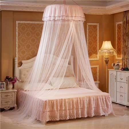 pink peach princess canopy bed mosquito net bedding netting mesh see through tent ribbons bows ruffled girly abdl cgl dd/lg little space kink fetish by ddlg playground