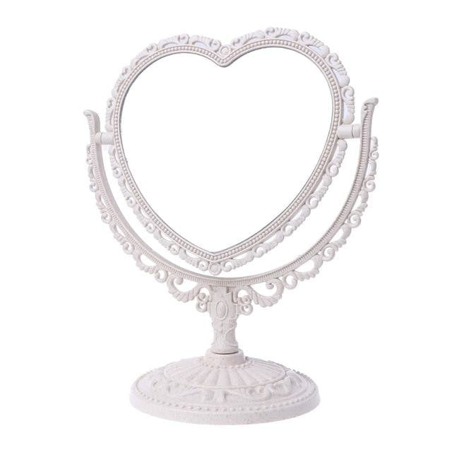 White Pastel Heart Make-Up Mirror Cosmetic Dual Sided Kawaii Fairy Kei