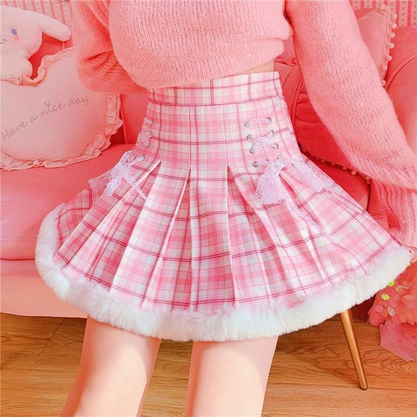 Princess Pink Plaid Fur Lined Skirt - bottoms, cosplay, fairy kei, kawaii, lolita