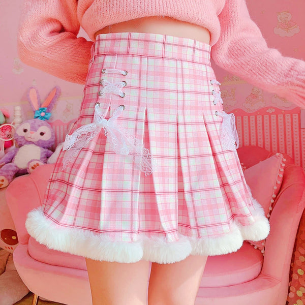 Princess Pink Plaid Fur Lined Skirt - XS - bottoms, cosplay, fairy kei, kawaii, lolita