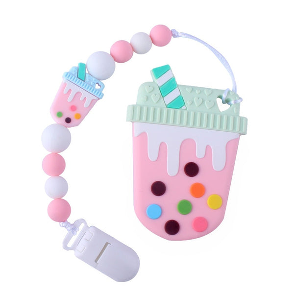 Bubble Tea Paci Clip & Teether