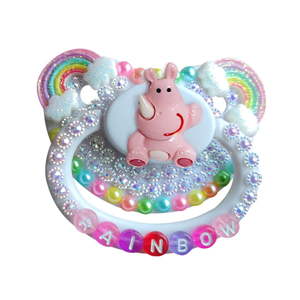 Rainbow Rhino Deco Pacifier