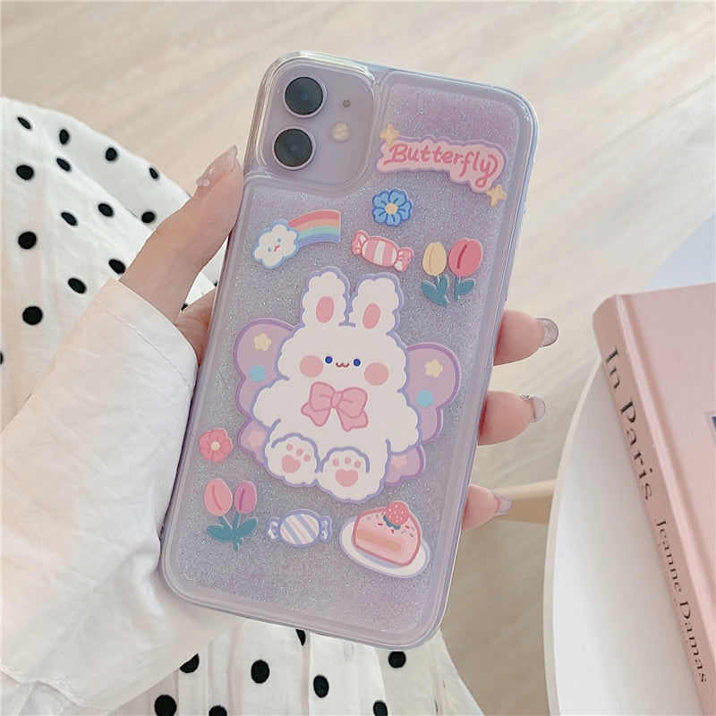 Glittery Pastel Bunny iPhone Case