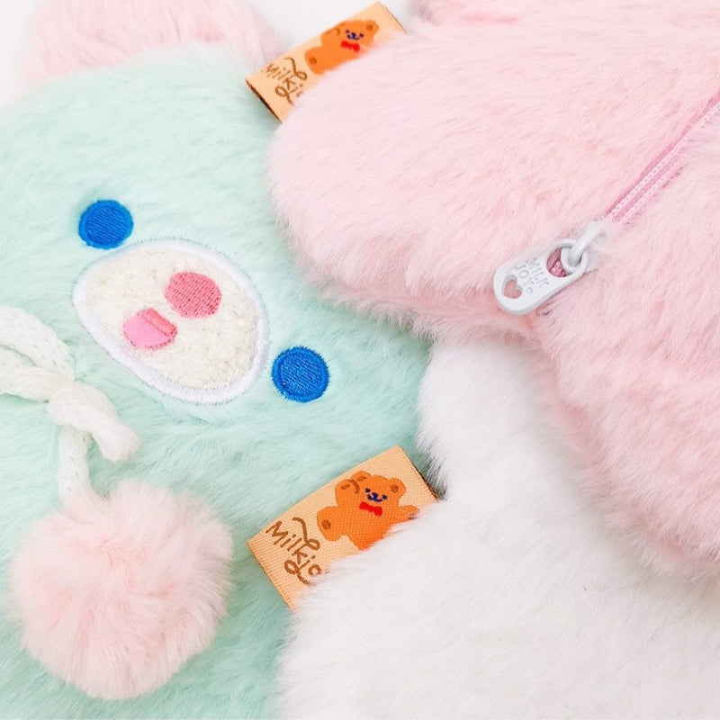 Fuzzy Pastel Bear Stationary Bag