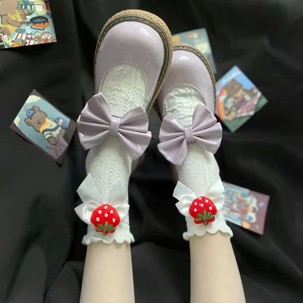 Berry Bow Ruffle Lace Socks