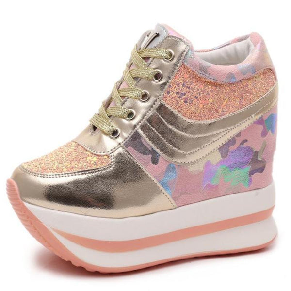 Glitter Camo Wedge Sneakers