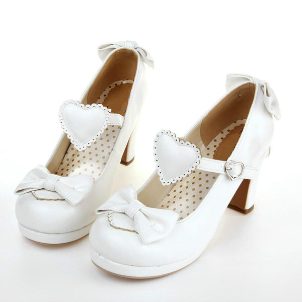 Sweetheart Heart and Bows Lolita Shoes High Heels Elegant Wedding Shoes Dainty School Girl Mori Girl by Kawaii Babe