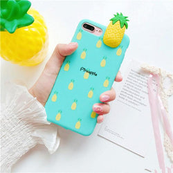 3d fruit rubber iphone cases blue pineapple fruity food tropical bendy soft iphone cases harajuku japan fashion by kawaii babe