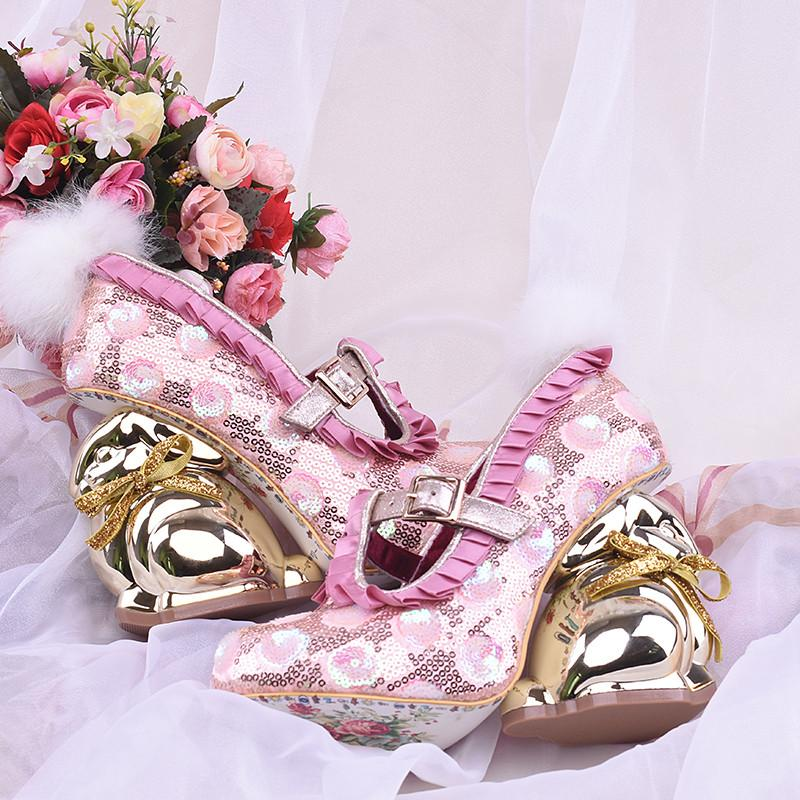 pink sequin 3D gold bunny high heels pumps luxury lolita fashion elegant regal golden rabbit designer shoe buckled pom pom bunny tail harajuku japan street fashion by kawaii babe