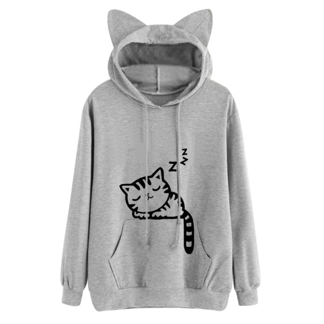 Grey Sleepy Kitten Sleeping Cat Sweater Hoodie Cat Ears Sweatshirt