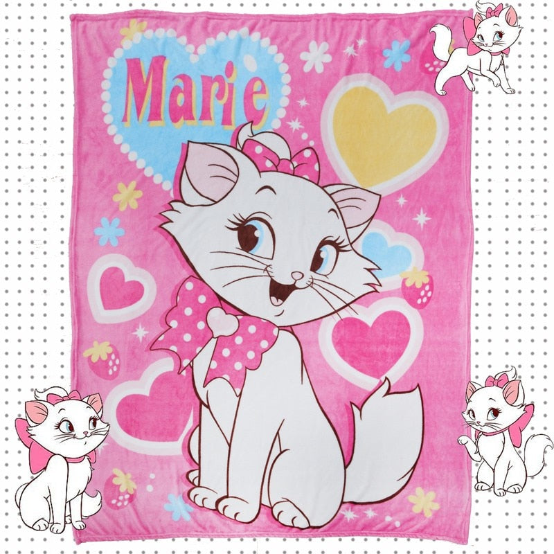 Pink Marie Cat Aristocats Plush Throw Blanket Disney Cute Kawaii Hearts Sherpa Bedspread