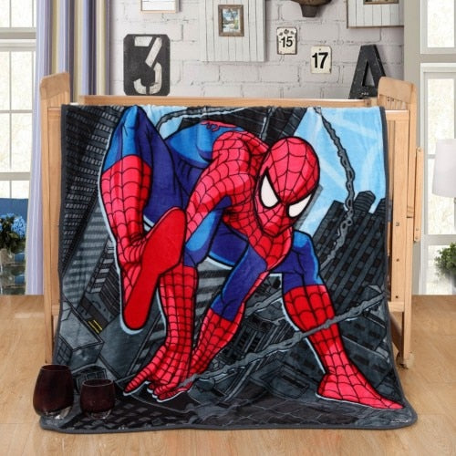 Spiderman Plush Throw Blanket Disney Cute Kawaii Hearts Sherpa Bedspread