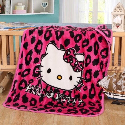 Pink Leopard Hello Kitty Plush Throw Blanket Disney Cute Kawaii Hearts Sherpa Bedspread