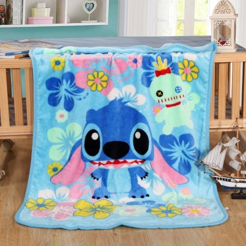 Blue Lilo & Stich Plush Throw Blanket Disney Cute Kawaii Hearts Sherpa Bedspread