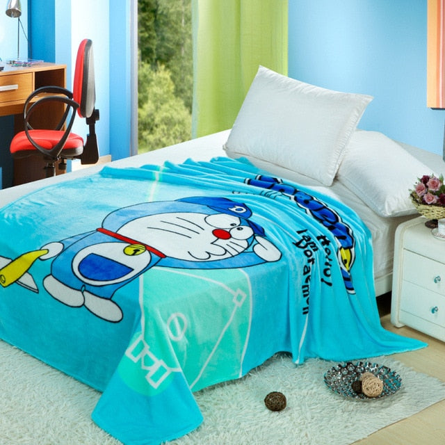 Blue Doraemon Plush Throw Blanket Disney Cute Kawaii Hearts Sherpa Bedspread
