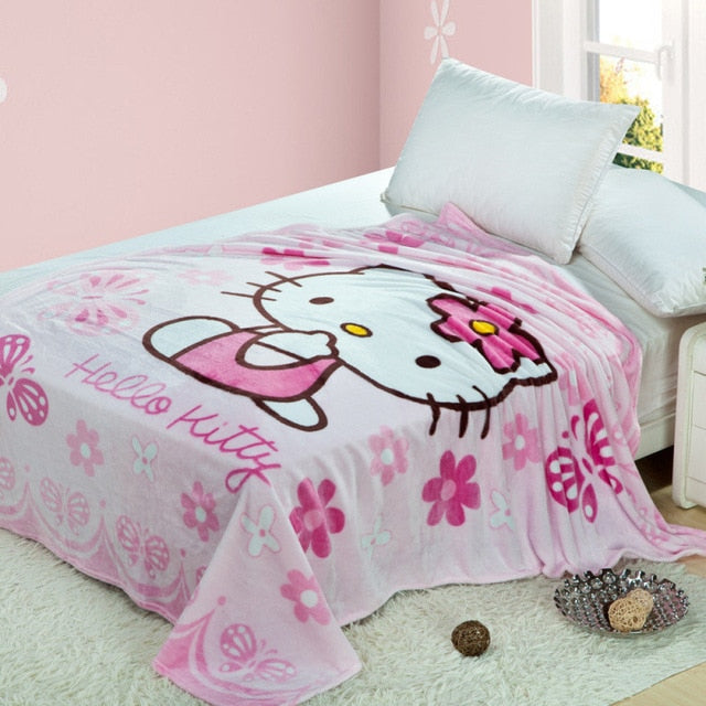 Pink Flower Hello Kitty Plush Throw Blanket Disney Cute Kawaii Hearts Sherpa Bedspread