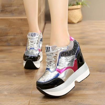 sequin platform sneakers shoes lace up sneaks athletic wedge harajuku japan fashion by kawaii babe