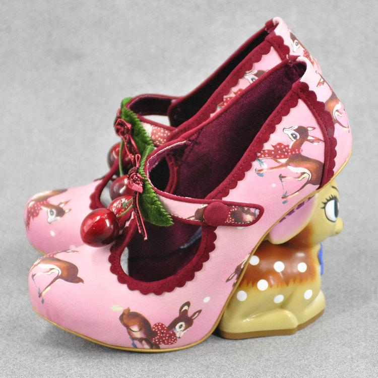 pink 3d cherry deer high heels platform shoes lolita style 1970s vintage kitsch retro cherries print irregular shaped heel disney bambi baby fawn harajuku japan street fashion by kawaii babe