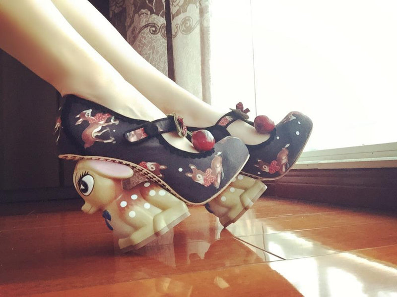 black 3d cherry deer high heels platform shoes 3d lolita style 1970s vintage kitsch retro cherries print irregular shaped heel disney bambi baby fawn harajuku japan street fashion by kawaii babe