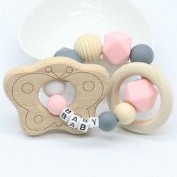 Custom Pink Butterfly Wood Teether Wooden Chew Toy Customizable Age Play ABDL CGL by DDLG Playground