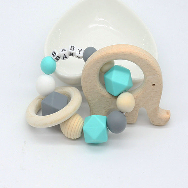 Custom Blue Elephant Wood Teether Wooden Chew Toy Customizable Age Play ABDL CGL by DDLG Playground