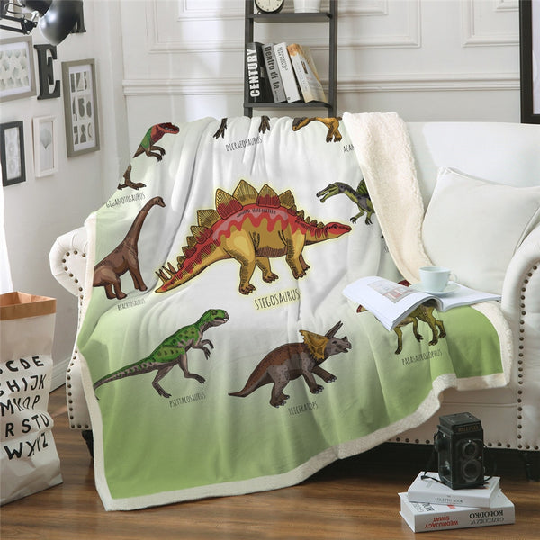 Green Dinosaur Labelled Sherpa Throw Blanket Little Boy Nursery ABDL CGL DDLB MDLB