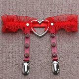Ruffled Red Spiked Heart Garter Belt Leg Ring Harness Bondage Kink