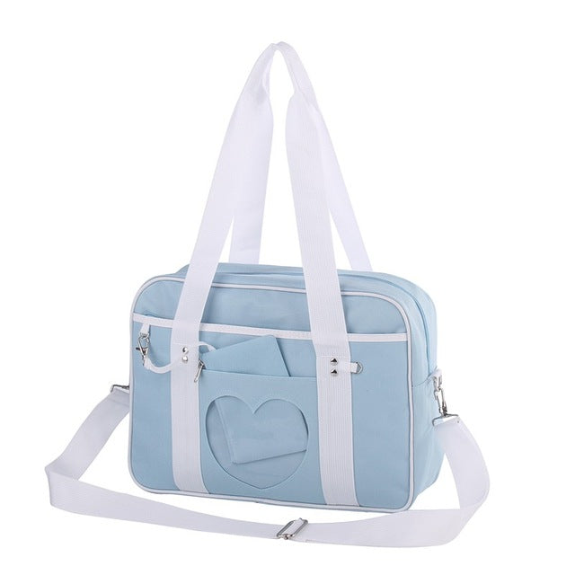 Pastel Blue Heart Handbag Duffle Messenger Bag Cute Harajuku Kawaii Fashion Fairy Kei