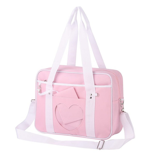 Pastel Pink Heart Handbag Duffle Messenger Bag Cute Harajuku Kawaii Fashion Fairy Kei