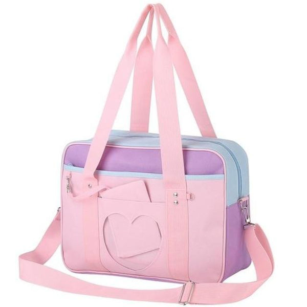 Pastel Purple Pink Heart Handbag Duffle Messenger Bag Cute Harajuku Kawaii Fashion Fairy Kei