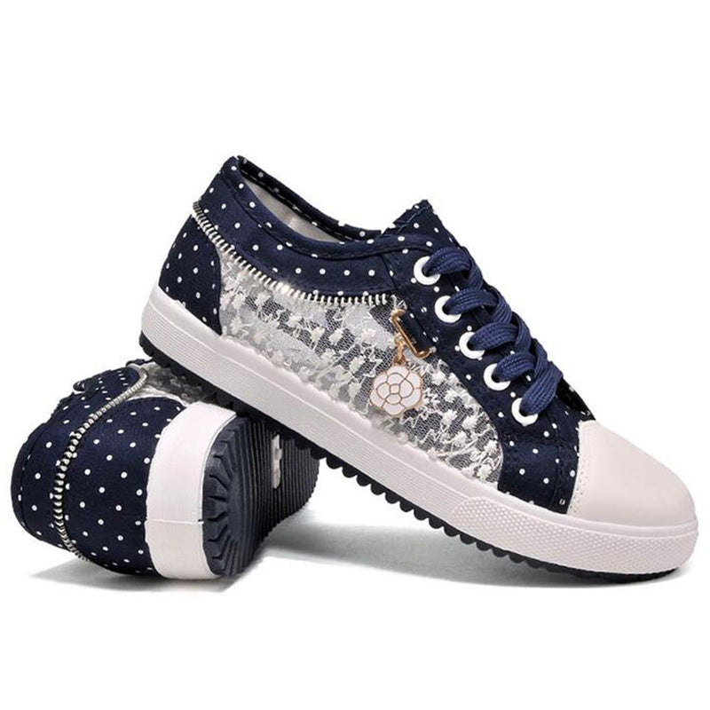 Lace Jean Blue Running Shoes Sneakers Youthful Young See Through Canvas