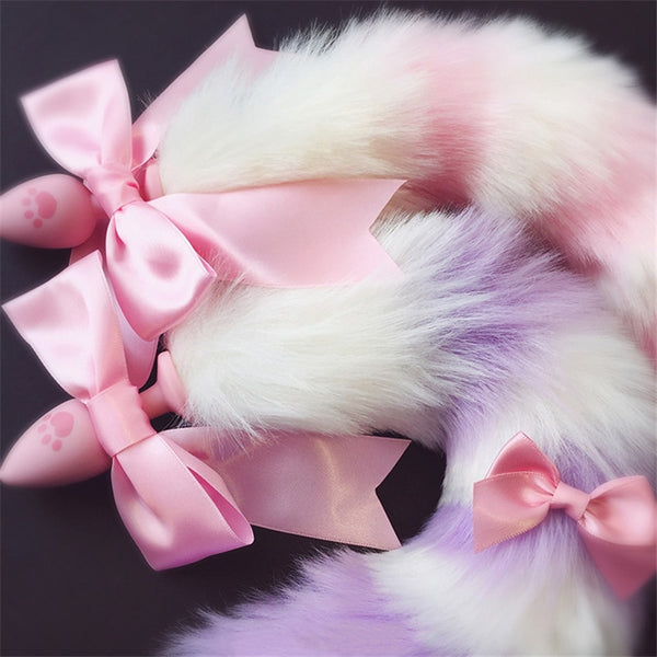 Milky Pastel Luxury Fox Tail Plug Kitten Puppy Tails Fluffy Furry Petplay Kink Toy
