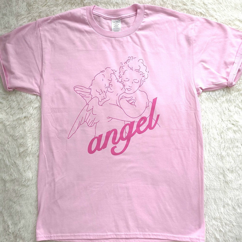 Pink Angel T-shirt Tee Top Cute Angelic Baby Cherub Kissing Kawaii Sweet