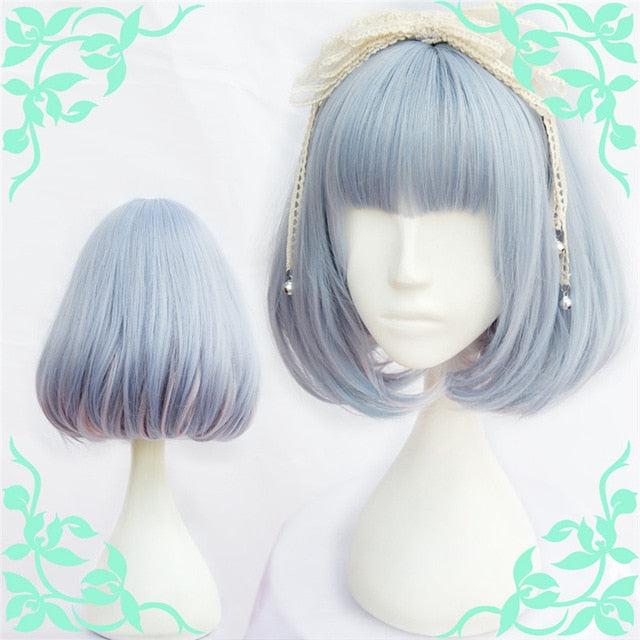 Short Blue Bob Ombre Medium Pastel Lolita Wig Blue Cosplay Harajuku Fashion Kanekalon Fibre
