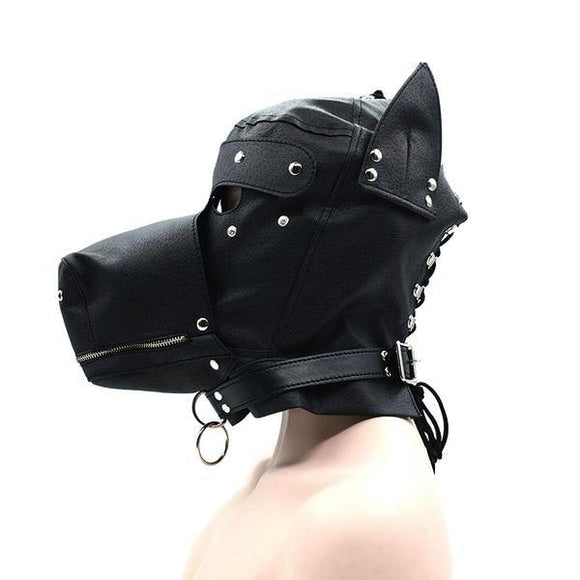 Black Vegan Leather Puppy Play Mask Kinky Fetish Bondage BDSM Roleplay RP Petplay Fun Costume by DDLG Playground