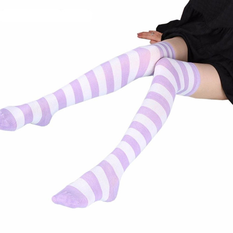 Purple Striped Thigh Highs - high socks, kinky, knee long stockings