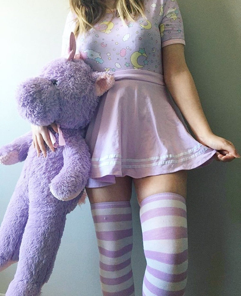 Purple Striped Thigh Highs - socks