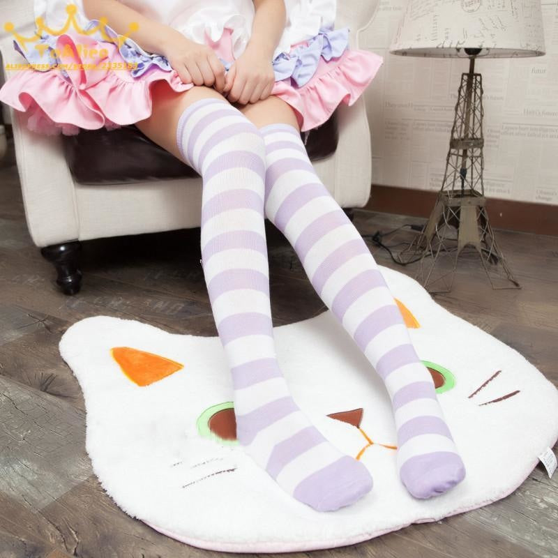 pastel thigh high purple white socks stockings striped stripes long knee socks tights panty hose sexy tall legs ddlg playground anime kawaii