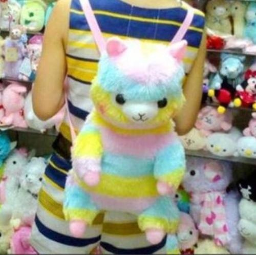 rainbow alpaca backpack alpacasso furry soft plush toy llama stuffed animal pastel fairy kei kawaii fashion cgl little space dd/lg by ddlg playground