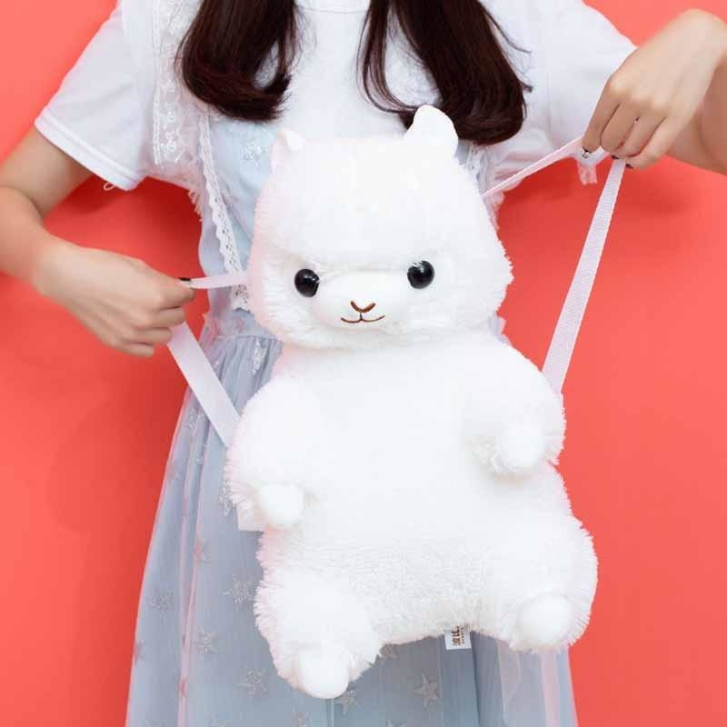 Rainbow Alpaca Backpack - White Alpaca Backpack - backpack