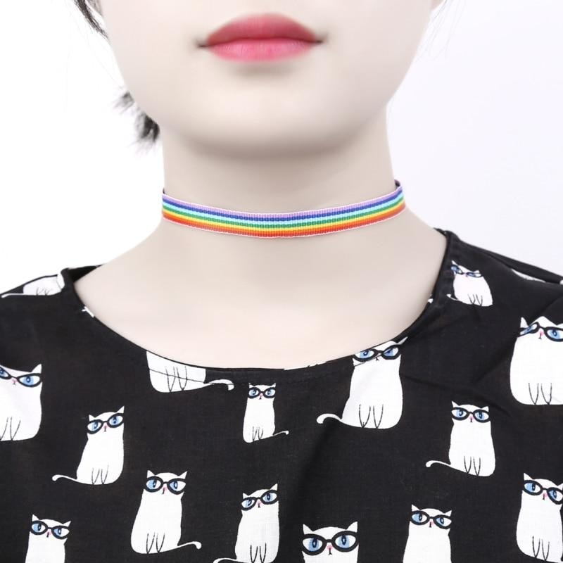 Rainbow Knit Fabric Choker Collar Necklace Jewelry LGBTQ Gay Pride Queer Trans