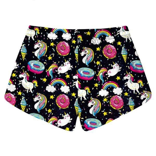 Donut Rainbow Unicorn Shorts Athletic Kawaii Black by DDLG playground