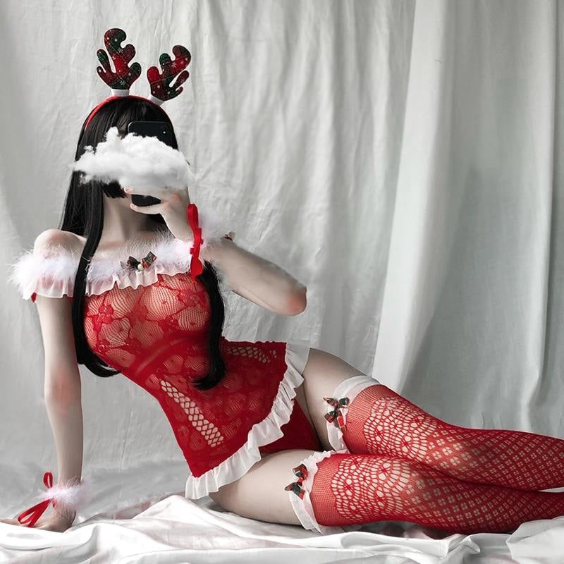 Red Fishnet Holiday Set - chrismas, christmas, elk, fishnet, fishnets