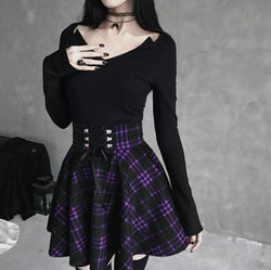 Red Plaid Skirt (Up to 5XL) - Purple / L - skirt