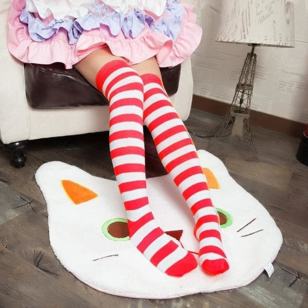 Red White Thigh Highs - socks