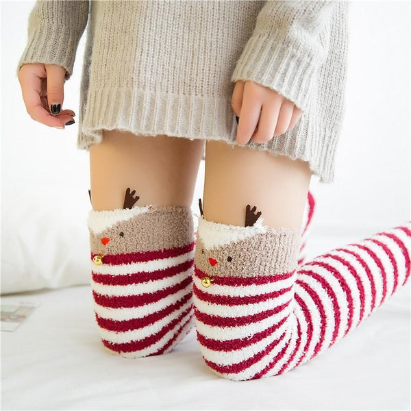 reindeer santa clause holiday thigh high socks stockings knee socks tights furry fuzzy warm animal print striped winter wear