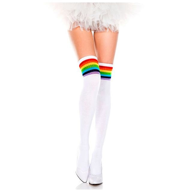 Glitter Rainbow Thigh Highs - White Rainbow (No Glitter) - Socks